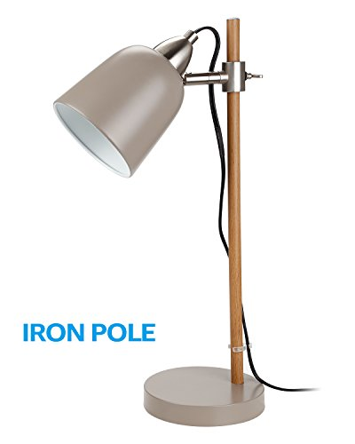 Kinder Metal Table Lamp - Stylish Metal Desk Lamps, UL-listed Cable Cord, E12 Bulb Socket, Adjustable Gray Steel Shade Table Light with Wood Grain Finish Iron Pole, for Reading Industrial Office Study Studio Work Lighting
