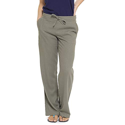 (TIFENNY Women's Linen Straight Trousers Pure Color High Waist Wide Leg Pants with Pocket Sweatpants Loose Pants)