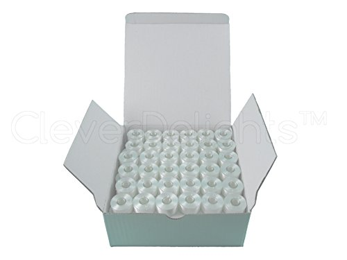 36 CleverDelights White Prewound Bobbins - 60wt - Size A Class 15 Bobbins - For Brother Embroidery Machines - 7/16