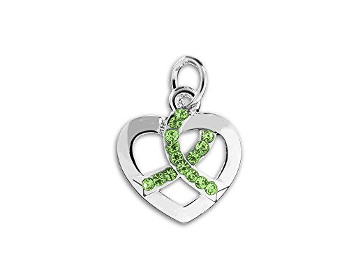 Crystal Heart Ribbon - Crystal Lime Green Ribbon Heart Charm (Retail)