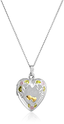 Sterling Silver Mom Heart Locket (Sterling Silver Tricolor