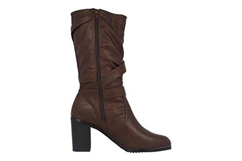 Andres Machado Damen Stiefel - Braun Schuhe in Übergrößen