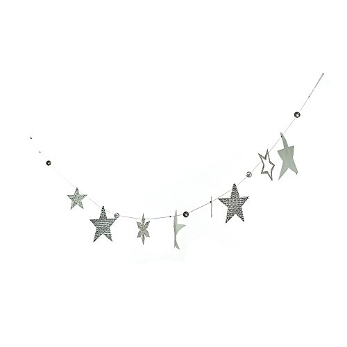 Roser Life Garland Banner Handmade Home Accents Silver Grey Star Decor (Pack of 1) Life Like Home Accent