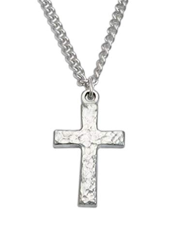 Bob Siemon Textured Pewter Cross Necklace on 24