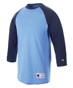Champion Men's Tagless Baseball Raglan T-Shirt, white/black, Medium