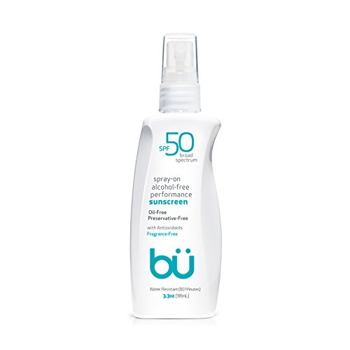 Bu SPF 50 Sunscreen Spray - Sweat & Water-Resistant. Clear, Moisturizing, Non-Toxic, Non Comedogenic. Oil, Alcohol and Cruelty-Free. Travel, Sport, Sensitive Skin. (Fragrance-Free, 3.3 oz)