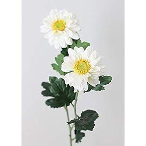 """White Zinnia Mum Silk Flowers - 31"""" Tall - Set of 3 3"""