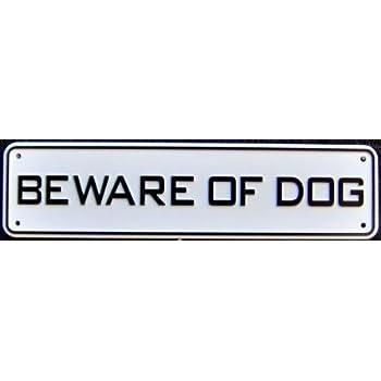 JellyBeadZ  Land and Sea Plastic Signs - Beware of Dog - (4 Mounting JellyBeadZ Screws Included