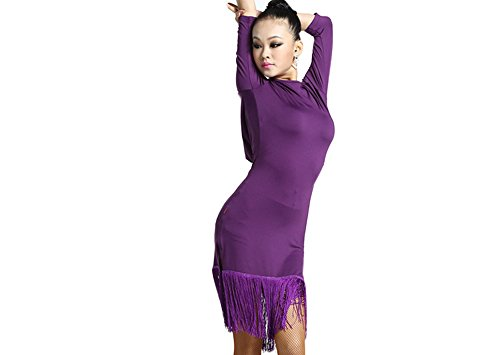 [Motony Women Latin Dance Dress New Style Latin Dance Costume Adult Dance Practice Performance Wear Purple] (Latin Costumes Dresses)