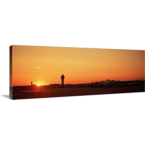 GREATBIGCANVAS Gallery-Wrapped Canvas Entitled Sunset Over an Airport, O'Hare International Airport, Chicago, Illinois by 60