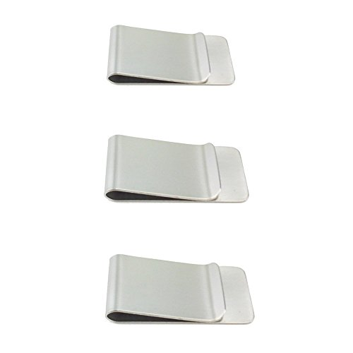 JMAF Money Clips 3 Pack, Stainless Steel Blanks for Engraving or Personalize - Credit Cards, ID, Cash,Ticket