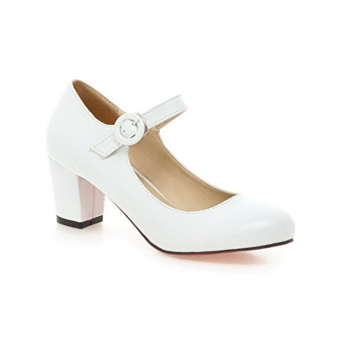 Balamasa Femmes Talons Chunky Boucle Basse Taille Basse Imitation Cuir Pompes-chaussures Blanc