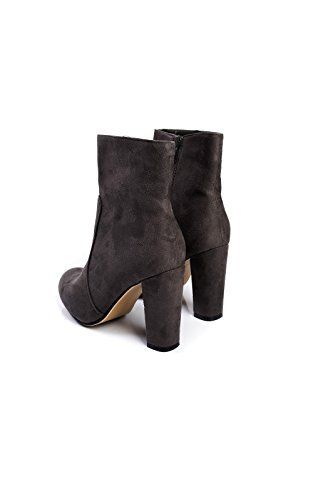 Boots Grey Suede Ikrush Womens Ankle Heeled Faux Ellie q0F07RY