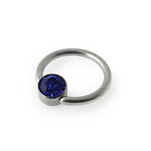 G23 Grade Titanium 4MM Dark Blue Jeweled Button with 16Gx5/16 (1.2x8mm) Captive Bead Rings Body jewelry ()