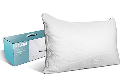NEEGOO-CertiPUR-US Certified Memory Foam Pillow -Unique Soft Bed Pillow with Green Color Core-Easy Adjustment of Thickness- Healthy & Washable Removable & Dust Mite Resistant Bamboo Cover- Queen Size