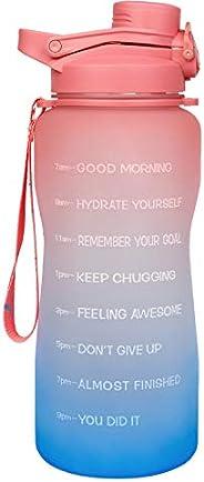 Half Gallon/64 oz Motivational Water Bottle, Leakproof Tritan BPA Free Water Jug, with Straw & Time Marker
