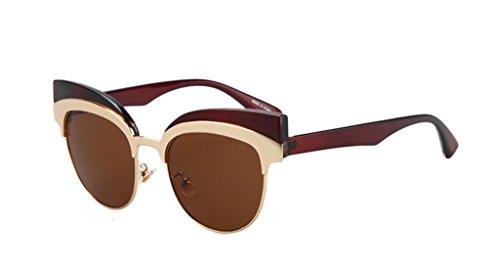 Trendy Semi-Rimless Cateye Sunglasses Personality Polarized - Polarized Versus Polarized Non