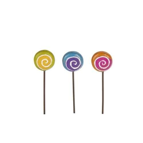 ShopForAllYou Figurines and Statues Fairy Garden Mini - Magical Lollipop Picks - Set of 3