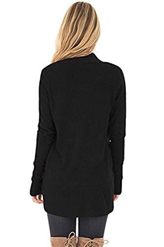 Autunno Cardigan Solidi Retro Casuale marca Cappotto Size A Manica A Eleganti Schwarz Maglia Cappotto Moda Outerwear Maglia Mode Lunga Giacca Colori di S Donna Festiva Irregolare Color 8ZwR5