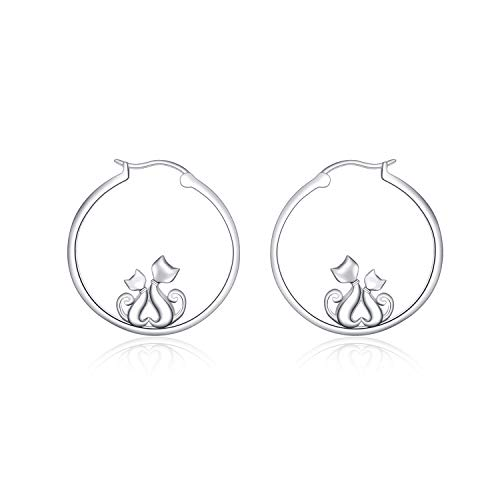(LUHE Cat Hoop Earrings Sterling Silver Hoop Earrings Cats Hoops Jewelry for Women Girls)