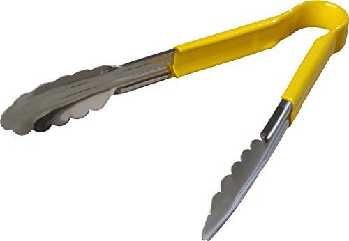 Carlisle 60756004 Spectrum Dura-Kool Stainless Steel Tongs with Vinyl Handle, 9-1/2'', Yellow (Case of 12) by Carlisle