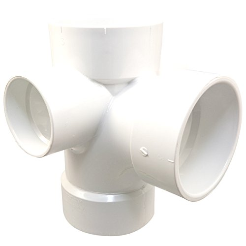 NIBCO 4 in. x 4 in. x 4 in. x 2 in. x 2 in. PVC DWV All Hub Sanitary Tee with Right and Left ()