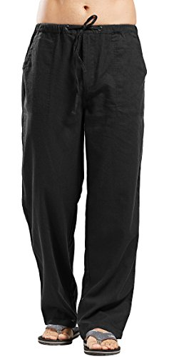 utcoco Qiuse Men's Casual Loose Fit Straight-Legs Stretchy Waist Beach Pants (Large, Black) ()