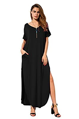 GRECERELLE Women's Casual Loose Pocket Long Dress Short Sleeve Split Maxi Dress