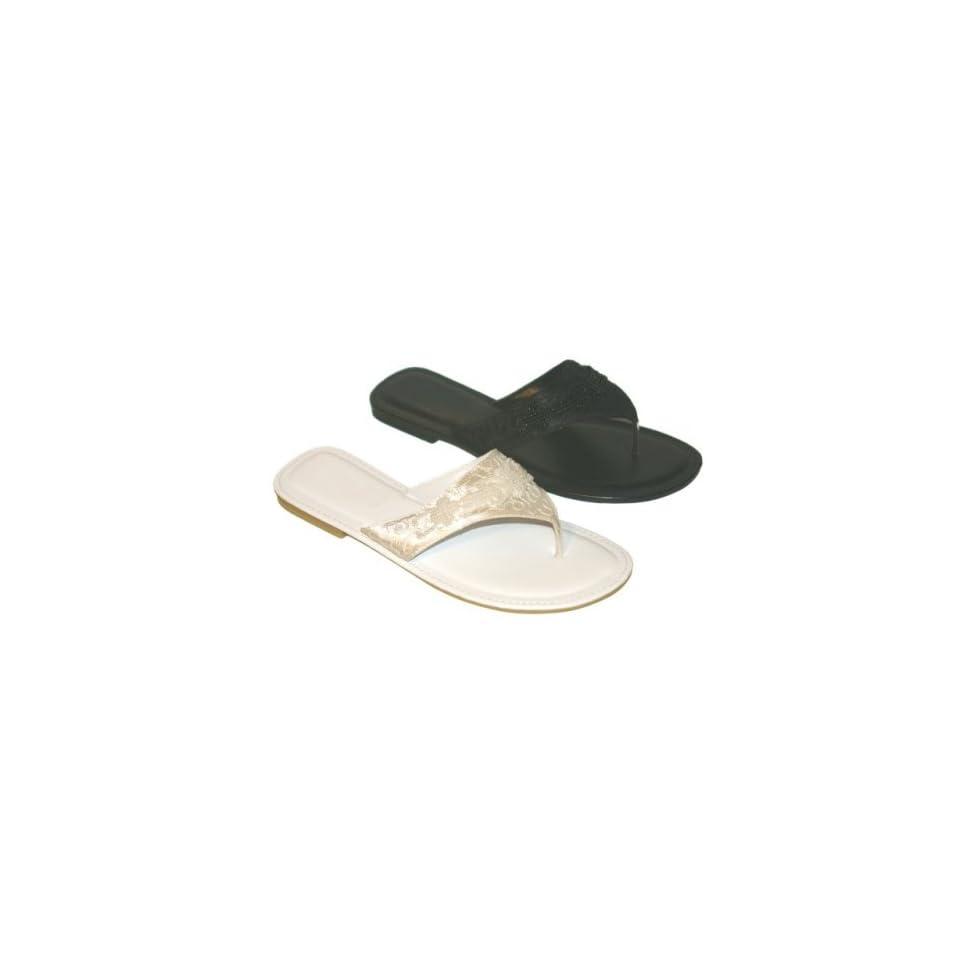 Womens Wedding Beaded Sandals Flip Flops Thongs Shoes