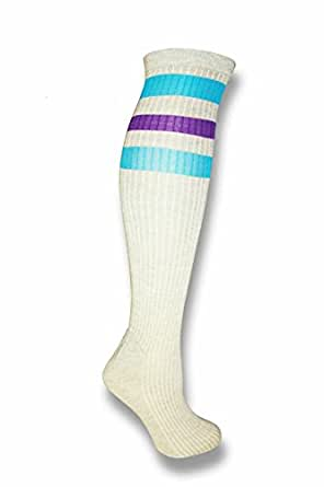 Gray Colored Knee High Tube Socks w/ Various Colored Stripes Team Sport Soccer (Gray w/ Blue/Purple)
