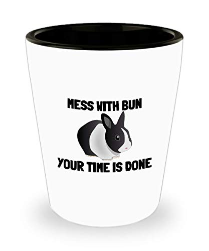 - Funny Rabbit Shot Glass - Bunny Rabbit Lover Gift - Pet Rabbit Owner Present - Mess With Bun, Your Time Is Done