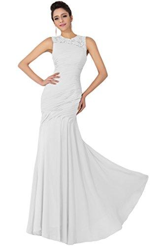 sunvary elegante Corpiño de volantes Evening Prom drsses Scoop dama Bata blanco