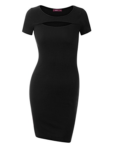 Doublju Fitted Keyhole Cutout Ribbed Knit Mini Dress (Plus size available) BLACK LARGE