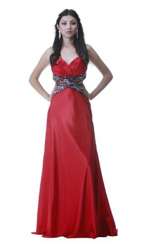 PolyUSA Women's Sleeveless Floor Length Charmeuse Prom Dress 2XL Red/Black ()