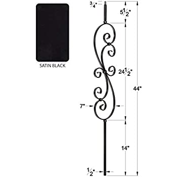 LI-WAVE44 1//2 Solid Square Iron Wave Baluster