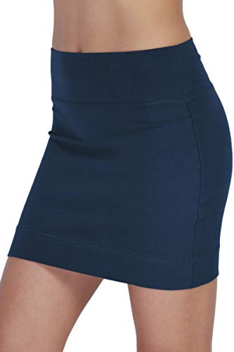 (TheMogan Women's Stretch Cotton/Spandex Stretch Comfortable Mini Skirt Navy)