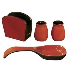 Corelle Napkin Holder, Spoon Rest, Salt and Pepper Shaker Set, Chili Red