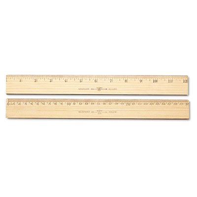 Wood Ruler, Metric and 1/16'' Scale with Single Metal Edge, 30 cm, Total 720 EA, Sold as 1 Carton