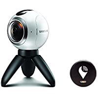 Samsung Gear 360 Real 360° High Resolution VR Camera (US Version with Warranty) and TrackR pixel Black