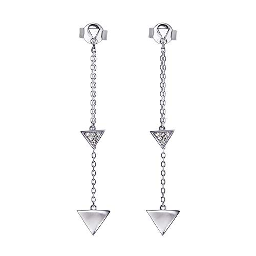 (Sterling Silver Triangle Drop Earrings with 1.0mm Round Moissanite by Charles & Colvard)