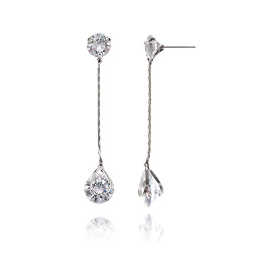 Women's CZ Long Chain Threader Earring Sterling Silver Round Cubic Zirconia Crystal Diamond Rhinestone Linear Drop Earrings Long Tassel Strand Dangle Earrings Bridal Earrings for Wedding Bride Bride