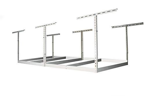 MonsterRax 4x8 Garage Storage Rack - Height Adjustable Steel Overhead Storage Rack Frame Kit with Adjustable Height - 600 Pound Weight Capacity (White, 18