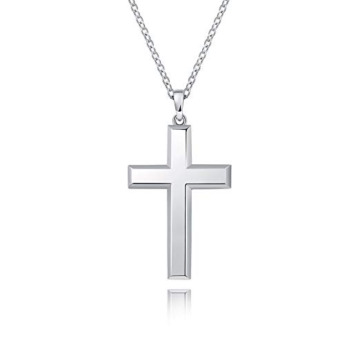 MONBO Cool Cross Pendant Long Necklace Classic High Polish Sterling Silver Cross Pendant Necklace for Men/Women