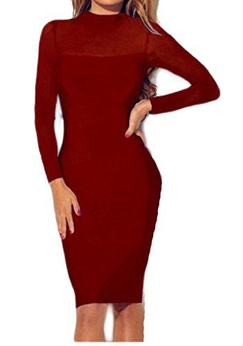 Sera Maglia Coolred donne Manica Elegante Unita Pattern6 Da Partito Abito Tinta Lunga Prospettiva TwHIPI