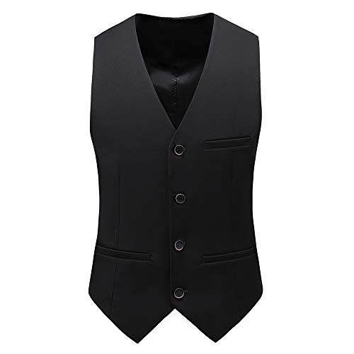 UNINUKOO Mens Slim Fit Four Button Tuxedo Waistcoat US Size 40 (Label Size 4XL) Black (Black Label Coat)