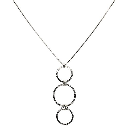 Hammered Circle 3 Links Dangle Necklace Italy Adjustable 16