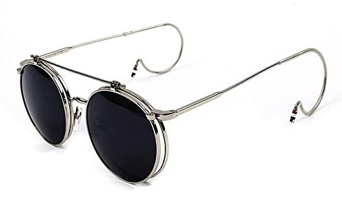 365Cor(TM) New Fashion Unisex Vintage Round Flip up Hook sunglasses Women Men Retro Steampunk mirrored Glasses Points Gafas de - Blacked Out Aviators