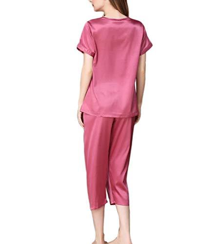 Taille Modernas Pantalones Sólido Noche Elastische De Ropa Casuales Color Casual Mujer Conjunto V Purple Pijama cuello Dormir Manga Corta a7gwzq