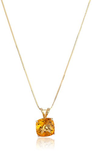 14k Yellow Gold Cushion Checkerboard Cut Citrine Pendant Necklace (8mm), 18""