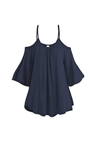 De cabestro suelto sencillo Elegante T camisas de las mujeres Navy